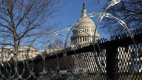 Razor wire fence around Capitol building.